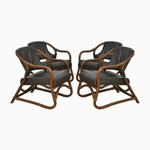 Vintage Bamboo Armchairs with Leather Seats, 1970s, Set of 4