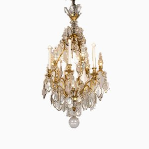 Antique French Gilded Bronze and Crystal Chandelier, 1900s