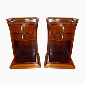 Art Deco French Rosewood Nightstands, 1920s, Set of 2