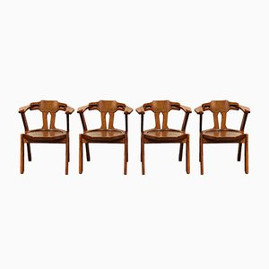 Brutalist Scandinavian Dining Chairs, 1960s, Set of 4