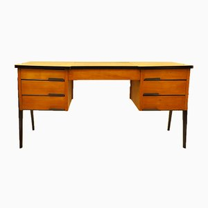 Italian Light Wood and Lacquered Ebony Finish Desk, 1950s