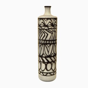 Glazed Ceramic Cylindrical Vase by Alvino Bagni, 1960s
