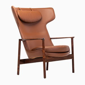Cognac Leather & Rosewood Wingback Lounge Chair by Ib Kofod Larsen for Fröscher, 1970s