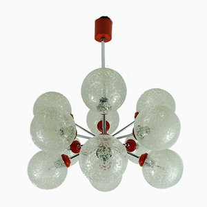 Sputnik Red Chrome Chandelier by Richard Essig, 1960s