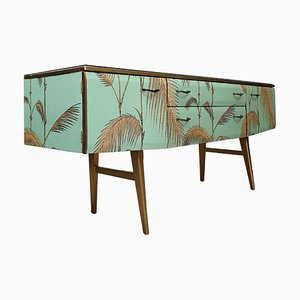 Mid-Century Gold and Mint Green Decoupage Sideboard from Meredew
