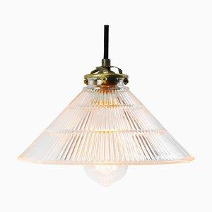 Vintage Industrial Holophane Glass Hanging Light Pendant