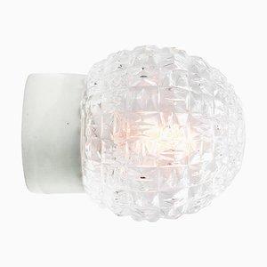 Applique da parete vintage industriale in vetro bianco e porcellana