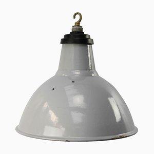 Lampe à Suspension Vintage Industrielle en Email Gris, Angleterre