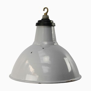 Vintage Industrial Gray Enamel British Pendant Light