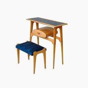 Petite Table et Tabouret Mid-Century Moderne, 1950s, Set de 2