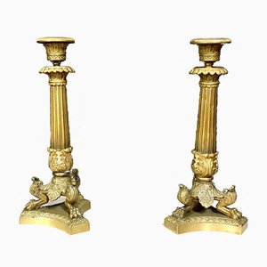 19th Century Empire Gilt Bronze Candleholders, Set of 2