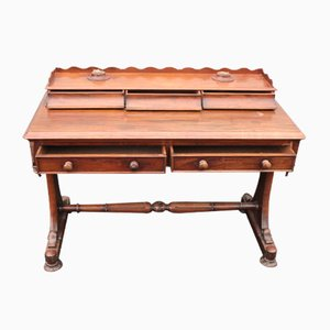 Antique Mahogany Desk with Drawers & Cross Stretcher, 1900s