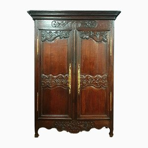 Antique Louis XV Patinated Oak Wedding Wardrobe