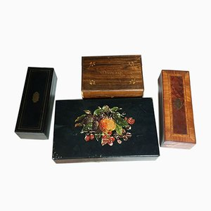 Antique Napoleon III Inlaid Boxes, Set of 4