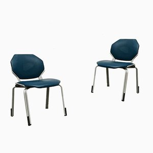 Vintage German Space Age Leather Stacking Dining Chairs from Fröscher, 1970s, Set of 2