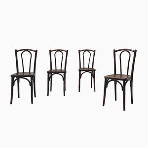 Vintage Curved Wooden Bistro Chairs, Set of 4