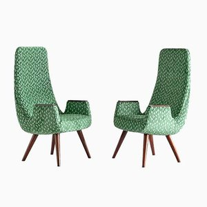 High Back Armchairs in Green Braquenié Velvet and Wengé Wood, 1950s, Set of 2