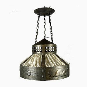 Antique Arts & Crafts Bronze Ceiling Lamp by Hugo Berger for Goberg