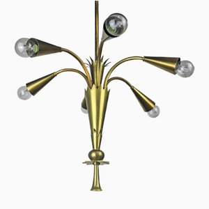 Vintage Art Deco Brass Ceremonial Ceiling Lamp from Schwintzer & Gräff, 1930s