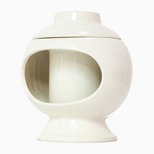 Italian White Ceramic Table Lamp from Sicart, 1970s