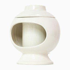 Italienische Weiße Keramik Tischlampe von Sicart, 1970er