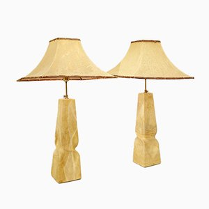 Large Natural Table Lamps from Pierre De France, Set of 2