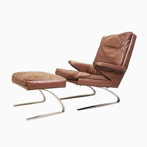 Cognac Swing Lounge Chair and Ottoman by Reinhold Adolf and Hans-Jürgen Schröpfer for Cor, 1970s