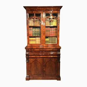 Antique Victorian Mahogany Secretaire Bookcase
