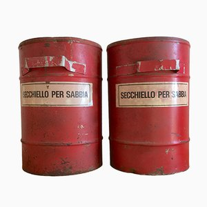 Mid-Century Fireproof Sand Buckets, Set of 2