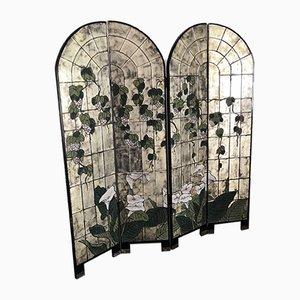 Biombo vitral con flores y biombo plegable, años 60