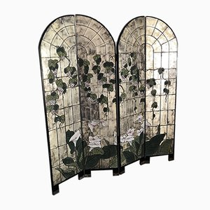 Stained Glass Room Divider with Flowers and Folding Screen, 1960s