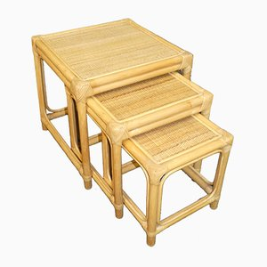 Mesas nido vintage de bambú. Juego de 3