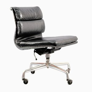 German Chrome Aniline Leather Soft Pad Model EA217 Desk Chair by Charles & Ray Eames for Herman Miller, 1978