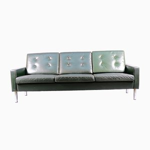 Cubistic 3-Seater Green Leather Sofa 1960s