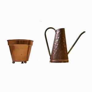 Mid-Century Danish Copper Planter and Watering Jug, 1960s, Set of 2