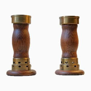 Vintage Danish Church Candleholders in Oak & Bronze, 1950s, Set of 2