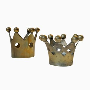 Vintage Crown Shaped Candle Holders in Brass, 1960s, Set of 2