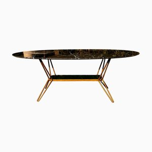 Black Marble and Brass Coffee Table, 1960s