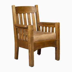 Antique Arts & Crafts Oak Armchair by Gustav Stickley, 1905