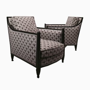 Art Deco Blackened Wood Lounge Chairs, 1930s, Set of 2