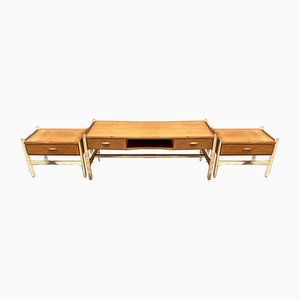Mid-Century Dresser & Bedside Tables, Set of 3