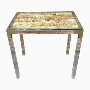 Vintage Methacrylate or Lucite and Brass Side Table, 1970s