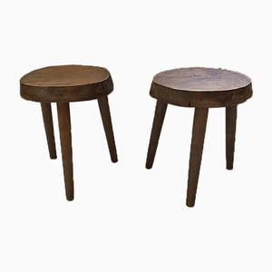 French Oak Tripod Stools, 1950s, Set of 2