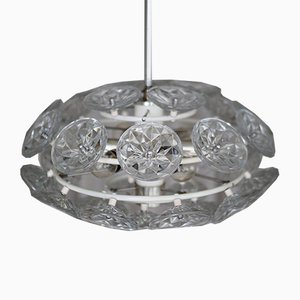 Mid-Century Crystal Glass Sputnik Ceiling Lamp from VEB Leuchten, 1960s