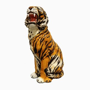 Ceramic Hand-Painted Tiger, 1970s