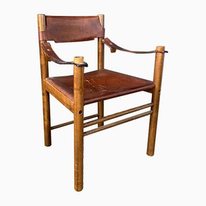 Wood & Leather Ibisco Armchair, 1960s