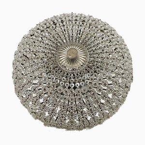 Florale Deckenlampe aus Kristallglas, 1960er