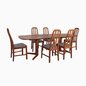 Solid Teak Extendable Dining Table & Chairs Set from Skovby, 1970s, Set of 7