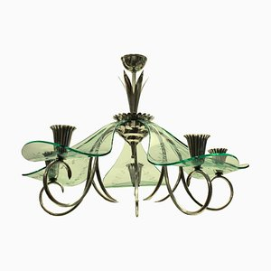 Italian Glass and Silver-Plated Candle Holder Chandelier, 1940s