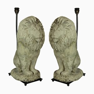 Vintage Stone Lion Table Lamps, Set of 2